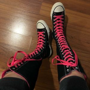 Converse • Knee High Pink Laced Sneakers